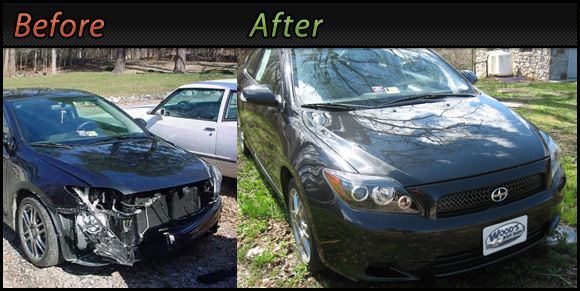 Woods Auto Body Repair - before and after